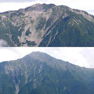 上:北岳中腹からの仙丈ヶ岳 下:大仙丈ヶ岳あたりからの北岳