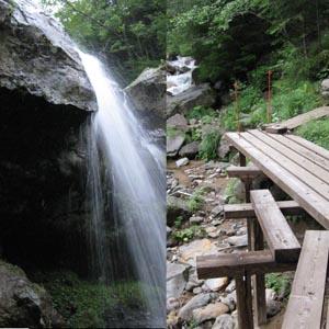 左は行者小屋への道筋の沢ででくわした滝、右は赤岳温泉からの整備された道
