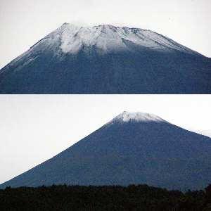 10月7日午後、姿を見せた初冠雪の富士