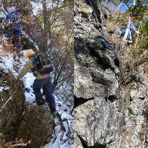岩だらけ、踏跡に近い帳付山への道