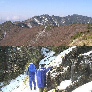 下は唐松尾山への道、上は翌日和名倉山への道からの唐松尾山