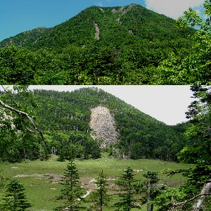 中腹から仰ぐ太郎山、下は花畑越しの山頂