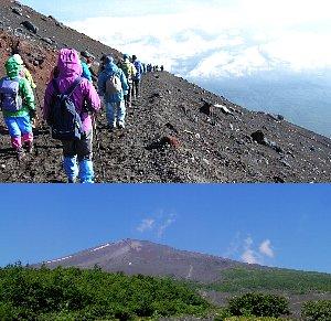 ゴミの一掃された登山道、下は須走り口から仰ぐ富士
